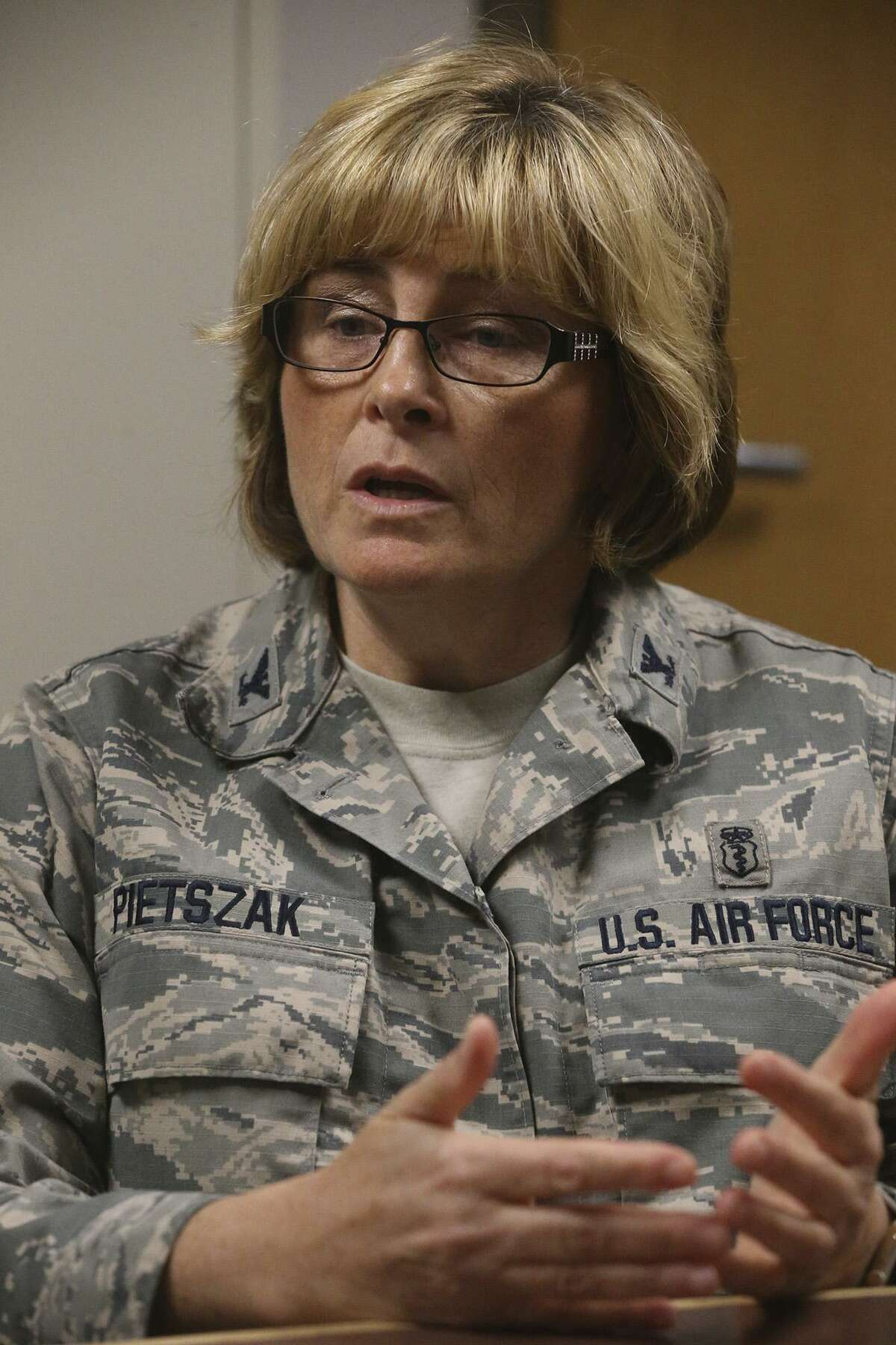 Air Force Colonel Kim Pietszak speaks Tuesday April 25, 2017 at JBSA-Fort Sam Houston, BAMC/Joint Base San Antonio San Antonio Military Medical Center hospital about sterility in the operating rooms. Pietzak is BAMC's deputy commander for quality and safety.