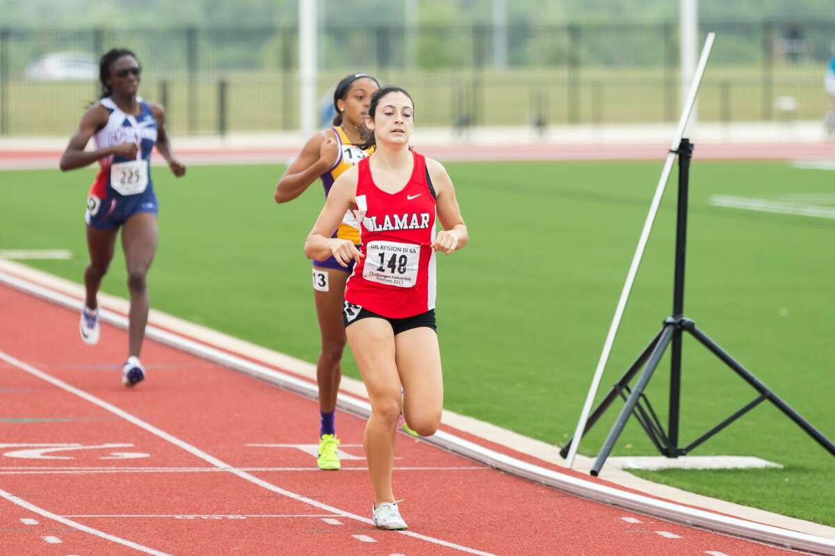 April 29, 2017: Houston Lamar Julia Heymach won the Varsity Girls 800 meter race during the Regional III Track meet at Challenger Stadium in Webster, Texas. (Leslie Plaza Johnson/Freelance)