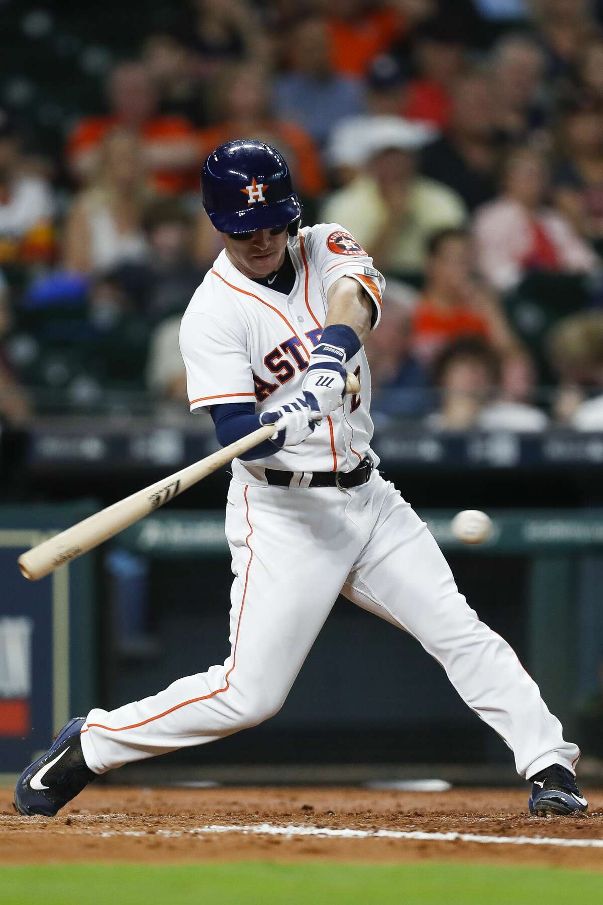 Houston Astros third baseman Alex Bregman (2) hits a single during the third inning as the Houston Astros take on the Oakland Athletics at Minute Maid Park Saturday, April 29, 2017 in Houston. ( Michael Ciaglo / Houston Chronicle)