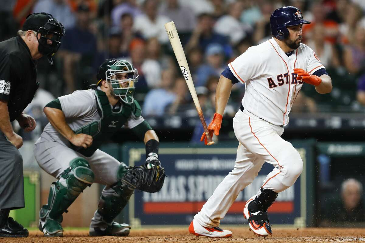 Houston Astros designated hitter Carlos Beltran (15) hits a ball short into the ground for a single during the ninth inning as the Houston Astros lose 2-1 to the Oakland Athletics at Minute Maid Park Saturday, April 29, 2017 in Houston. ( Michael Ciaglo / Houston Chronicle)