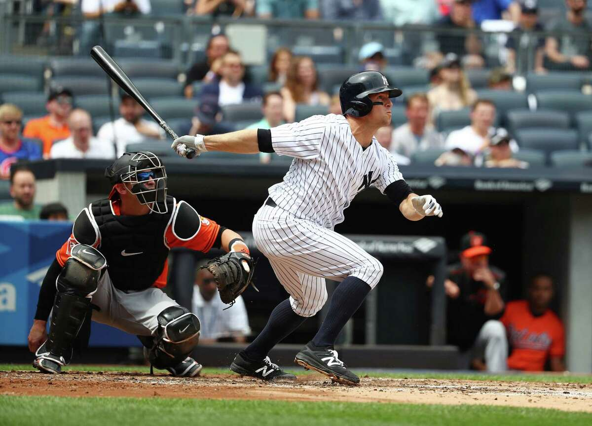 NEW YORK, NY - APRIL 29: Brett Gardner #11 of the New York Yankees hits a three run home run against the Baltimore Orioles in the second inning during their game at Yankee Stadium on April 29, 2017 in New York City. (Photo by Al Bello/Getty Images) ORG XMIT: 700010578