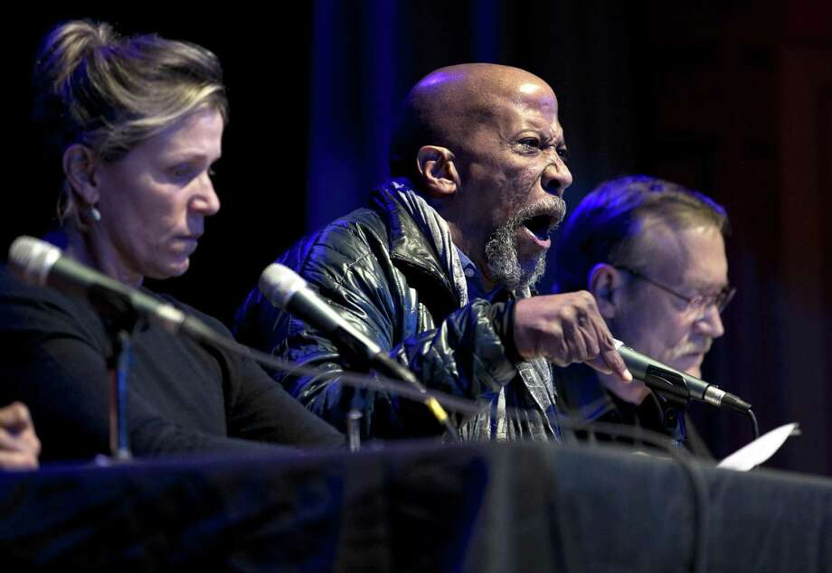 """Frances McDormand (left), Reg E. Cathey and James Carpenter read """"Hercules in the Bayview"""" at Bayview Opera House. Photo: Scott Strazzante / The Chronicle / **MANDATORY CREDIT FOR PHOTOG AND SF CHRONICLE/NO SALES/MAGS OUT/TV"""