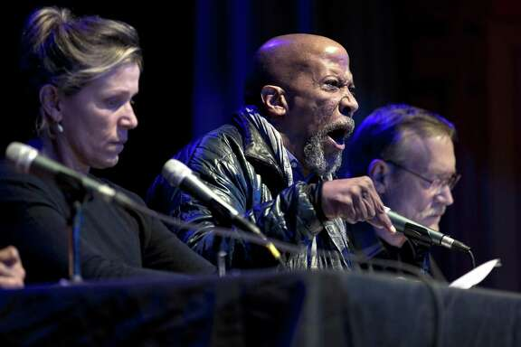 """Frances McDormand (left), Reg E. Cathey and James Carpenter read """"Hercules in the Bayview"""" at Bayview Opera House."""