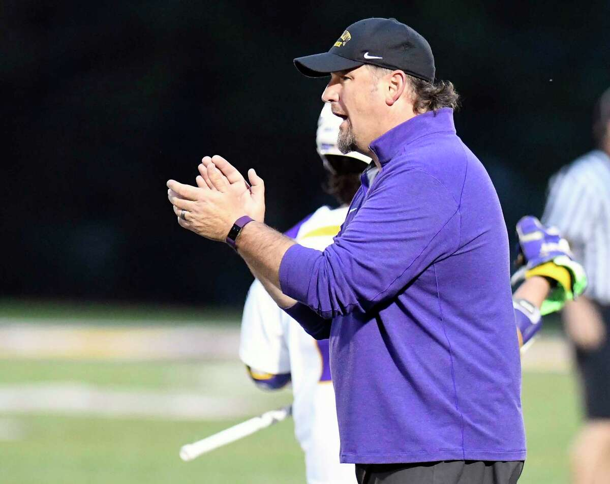 UAlbany head coach Scott Marr applauds his players as they play Hartford during a NCAA Division I college men's lacrosse game on Saturday, April 29, 2017, in Albany, N.Y. (Hans Pennink / Special to the Times Union) ORG XMIT: HP101