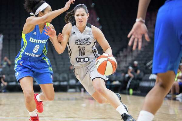 Kelsey Plum, number 10, running the ball during the WNBA game between the San Antonio Stars and the Dallas Wings at the AT&T Center in San Antonio, Texas on Saturday, April 29, 2017.