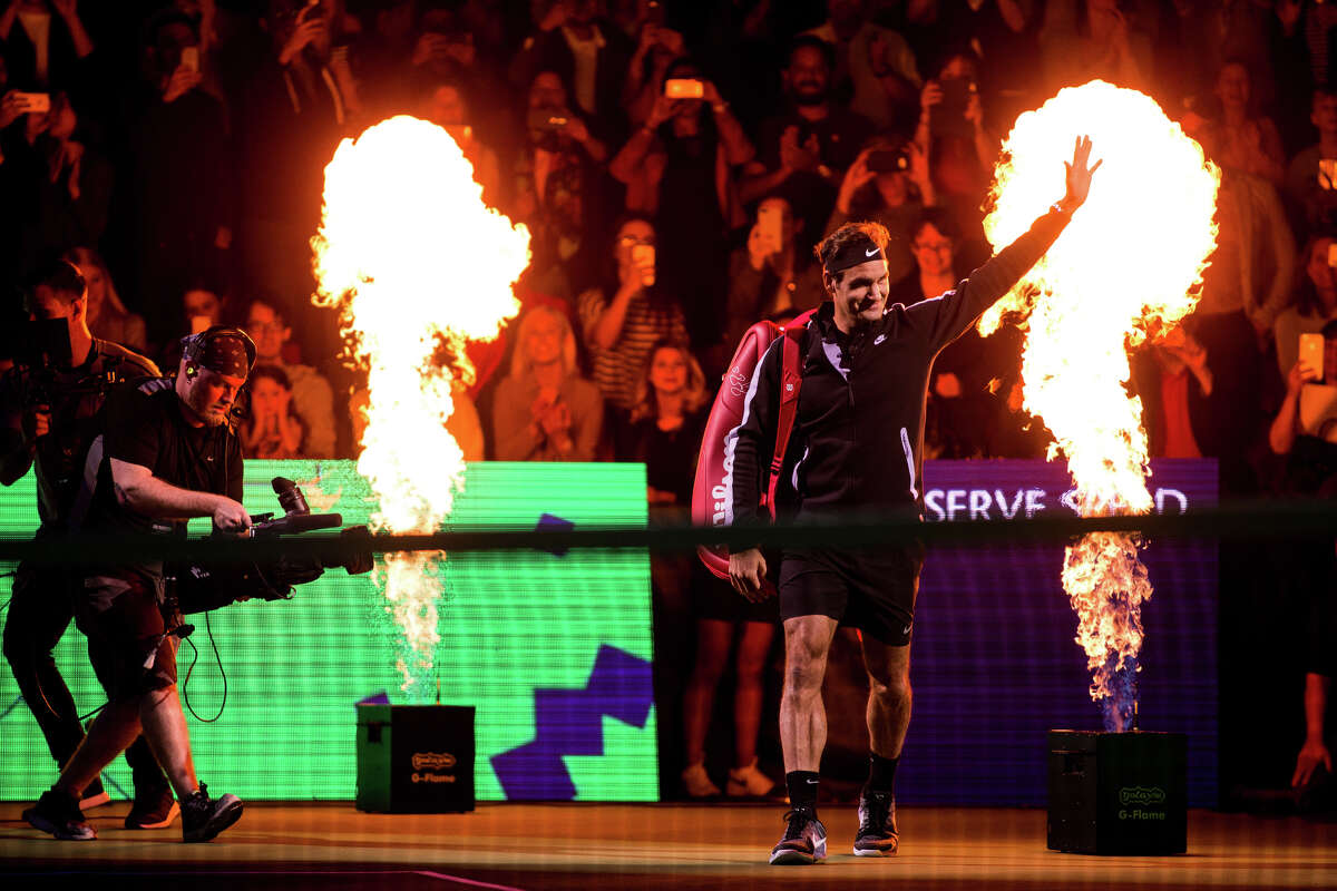 Tennis player Roger Federer is announced before The Match for Africa 4 at KeyArena on Saturday, April 29, 2017. Proceeds of the match benefit the Roger Federer Foundation and its projects to help children in poverty.
