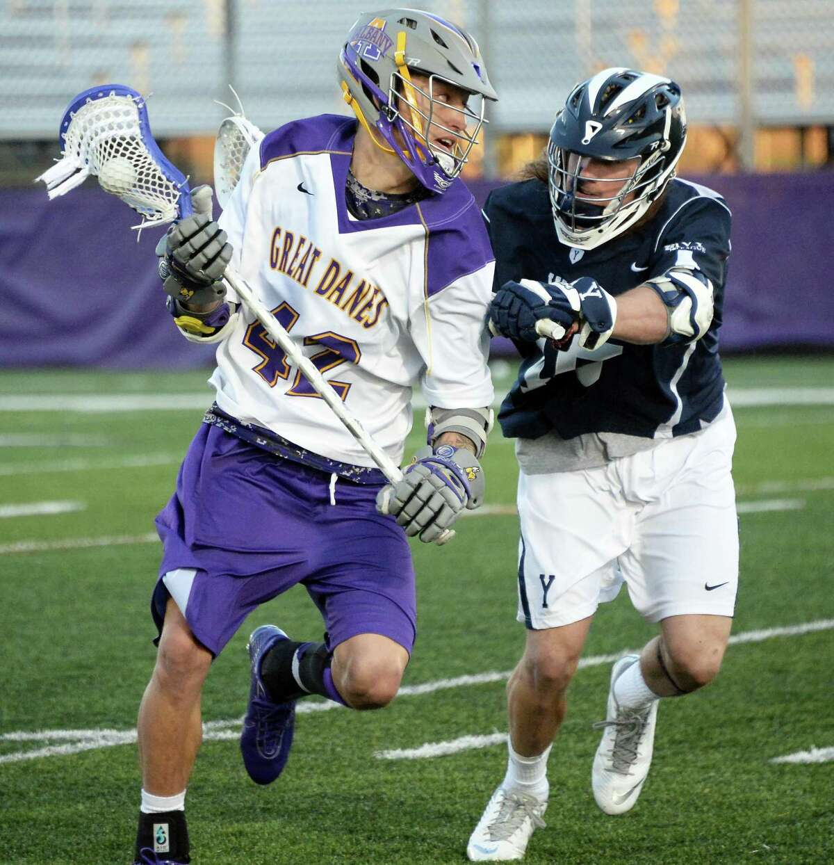 UAlbany's #42 Ky Tarbell, left, and Yale's #45 Jason Alessi tangle during Saturday's lacrosse game April 18, 2015 in Albany, NY. (John Carl D'Annibale / Times Union)