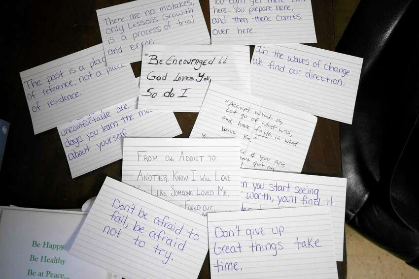 A view of some of the inspirational cards written by members of the community, seen here at the Chatham Police Department on Wednesday, April 26, 2017, in Chatham, N.Y. The cards a placed in care bags that are given to people with addiction problems who come to the police for help and are then sent to treatment facilities. Chatham Police Chief Peter Volkmann says that the cards are