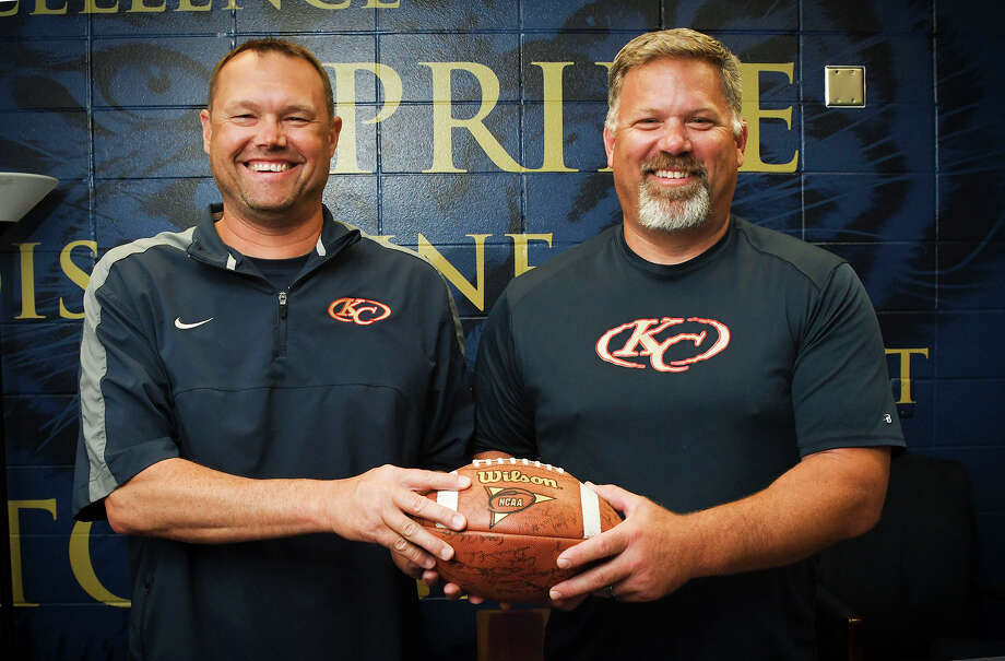 New Klein Collins offensive coordinator Todd Rankin (left) and special teams coordinator/outside linebackers coach Mike Fredrickson (right) are already on campus at Klein Collins High School. Getting the two men into the school, into the classrooms and hallways, and having them around the program during the offseason has been invaluable, per head coach Drew Svoboda, and will pay dividends in the fall. Photo: Tony Gaines / HCN