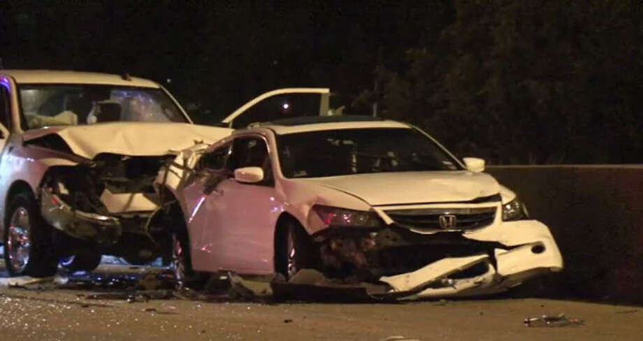 One man was killed Sunday morning in a three-car wreck on North Freeway. Photo: Metro Video