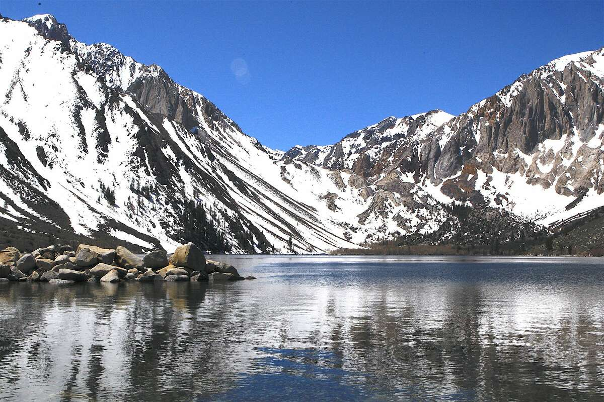 The scene at Convict Lake Friday, where all is quiet and serene, just before Saturday's opening of trout season in the Eastern Sierra