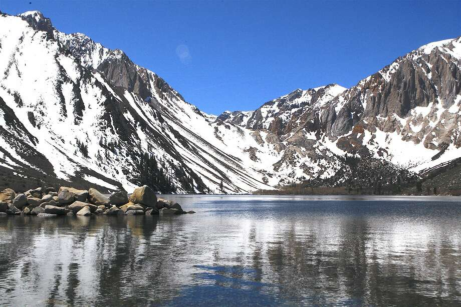 The scene at Convict Lake Friday, where all is quiet and serene, just before Saturday's opening of trout season in the Eastern Sierra Photo: Tom Stienstra, Tom Stienstra / The Chronicle