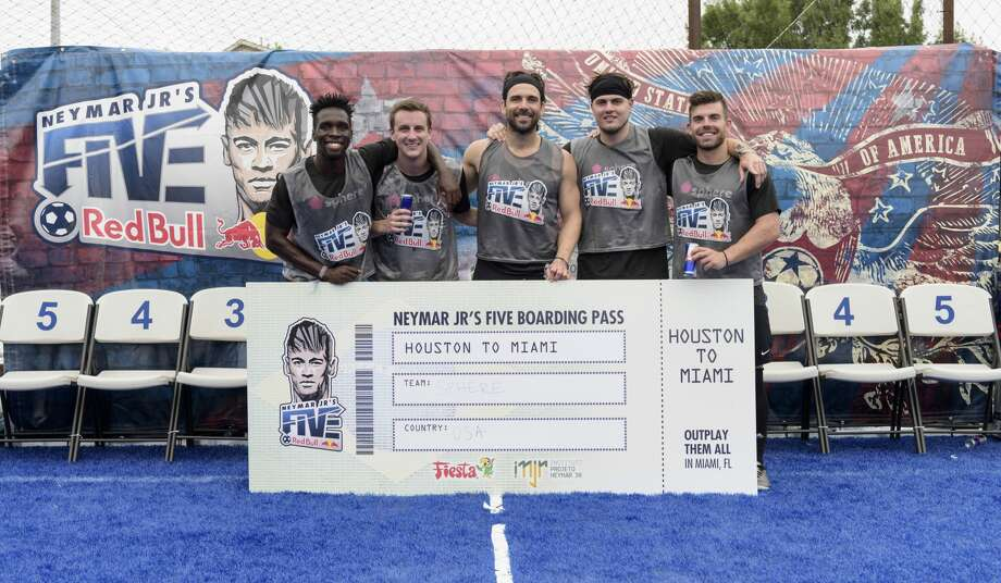 Former Dynamo player Mike Chabala (middle) and Team Sphere won the Houston qualifier of the Neymar Jr.'s Five soccer tournament on Saturday. Team Sphere will be one of 18 teams in the U.S. finals in Miami on June 10. The U.S. champion will qualify for the world finals in Brazil in July and have a chance to meet Neymar Jr. in his hometown. Photo: Red Bull