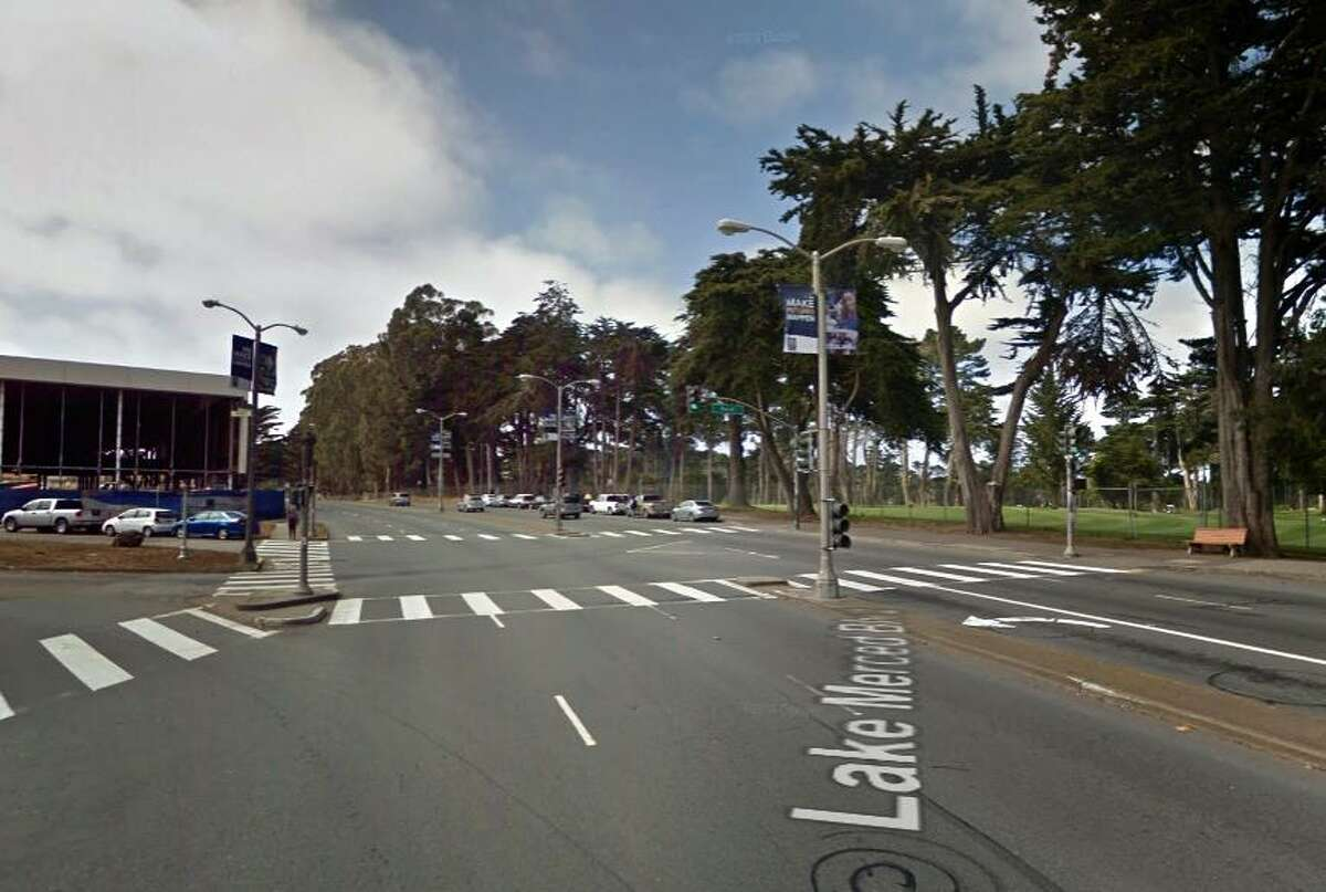 A Google street view image shows the intersection of Lake Merced and Font boulevards in San Francisco where a 77-year-old woman was struck and killed on Saturday night.
