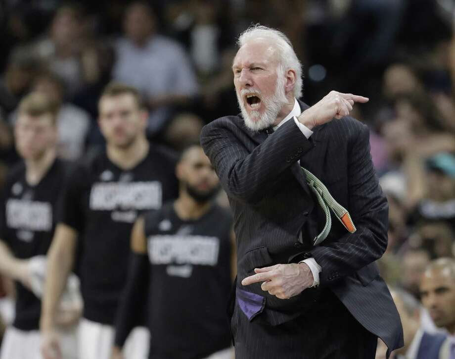 Spurs coach Gregg Popovich argues a call during the first half of Game 5 against the Memphis Grizzlies on April 25, 2017, in San Antonio. Photo: Eric Gay /Associated Press / Copyright 2017 The Associated Press. All rights reserved.