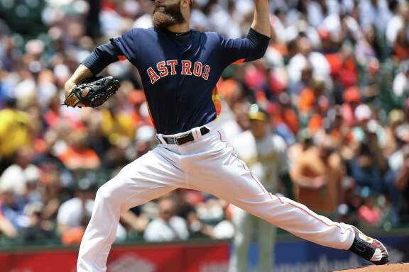 Houston Astros starting pitcher Dallas Keuchel (60) on the mount during the first inning of the game at Minute Maid Park Sunday, April 30, 2017, in Houston.
