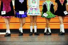 Irish dancers wait for their turn to perform during the 10th annual Lynn Academy of Dance Spring Feis inside Stamford High School in Stamford, Conn. on Sunday, April 30, 2017.