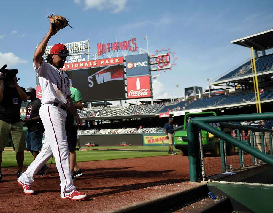 Washington Nationals' Anthony Rendon walks off the field after a baseball game against the New York Mets, Sunday, April 30, 2017, in Washington.  (AP Photo/Nick Wass) Photo: Nick Wass, Associated Press / FR67404 AP