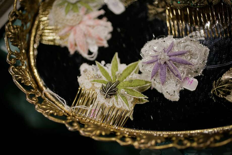 Marijuana-leaf embroidered hair pins on display at the expo. Photo: Gabrielle Lurie, The Chronicle