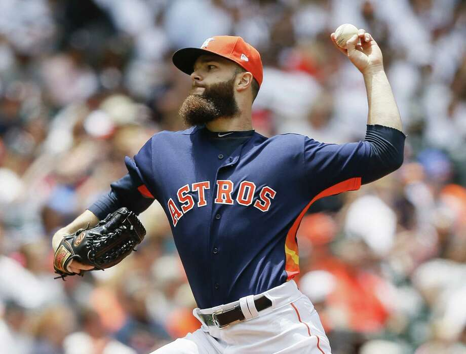 HOUSTON, TX - APRIL 30:  Dallas Keuchel #60 of the Houston Astros pitches in the first inning against the Oakland Athletics at Minute Maid Park on April 30, 2017 in Houston, Texas.  (Photo by Bob Levey/Getty Images) Photo: Bob Levey, Stringer / 2017 Getty Images