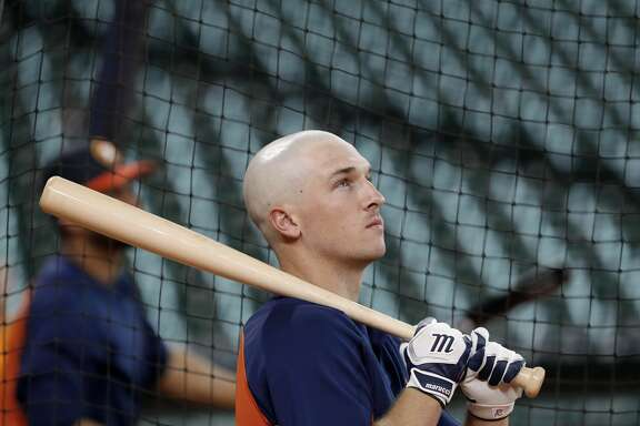 Houston Astros' Alex Bregman watches during batting practice before a baseball game against the Oakland Athletics Friday, April 28, 2017, in Houston. (AP Photo/David J. Phillip)
