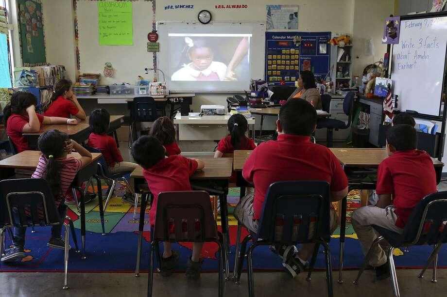 Children watch Ruby Bridges during their school day at The Children's Shelter in San Antonio on Feb. 7, 2017. Photo: Lisa Krantz, STAFF / SAN ANTONIO EXPRESS-NEWS / SAN ANTONIO EXPRESS-NEWS