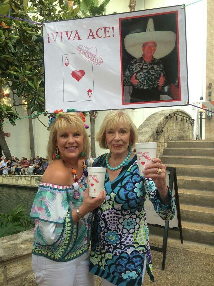 Amy Wood and her mother Joyce Tinch remember their beloved father and husband, respectively, Ace Tinch who loved Fiesta so much his memory has inspired continued Fiesta celebrations along the San Antonio River. Photo: Courtesy / Courtesy