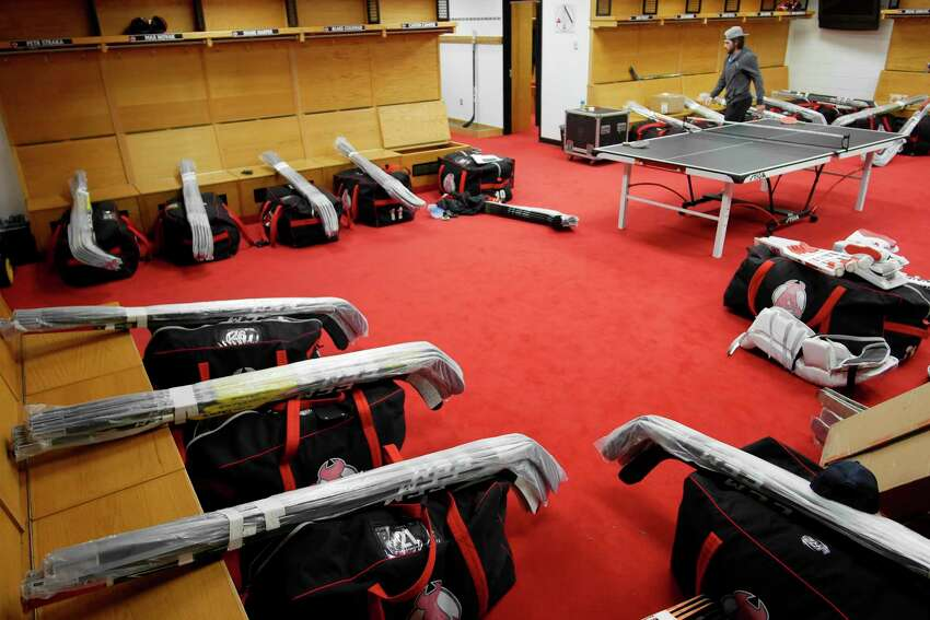 Player's gear is packed up inside the Albany Devils locker room at the Times Union Center on Sunday, April 30, 2017, in Albany, N.Y. (Paul Buckowski / Times Union)