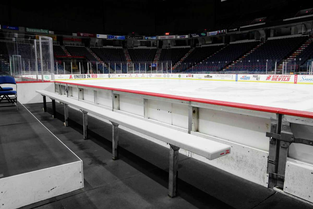 A view of the ice that the Albany Devils have played games on at the Times Union Center on Sunday, April 30, 2017, in Albany, N.Y. (Paul Buckowski / Times Union)