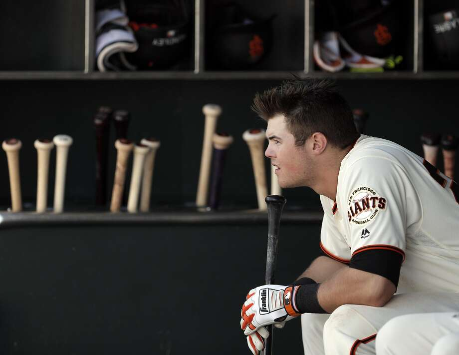 Christian Arroyo in the dugout in the eleventh inning as the San Francisco Giants played the San Diego Padres at AT&T Park, Calif., on Sunday, April 30, 2017. Photo: Carlos Avila Gonzalez, The Chronicle