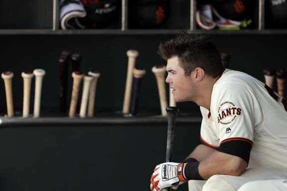 Christian Arroyo in the dugout in the eleventh inning as the San Francisco Giants played the San Diego Padres at AT&T Park, Calif., on Sunday, April 30, 2017.