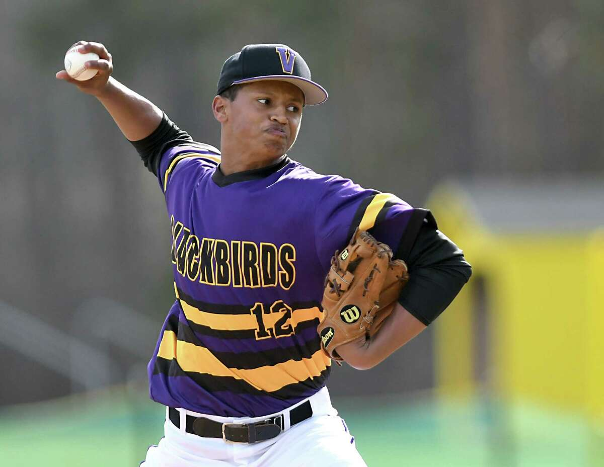 Voorheesville pitcher P.J. Parker throws the ball during a baseball game against Cohoes on Monday, April 10, 2017 in Voorheesville, N.Y. (Lori Van Buren / Times Union)