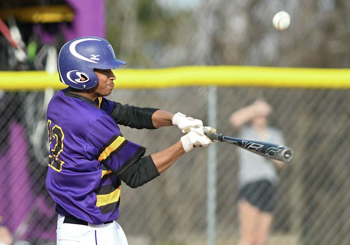 Voorheesville pitcher P.J. Parker hits the ball during a baseball game against Cohoes on Monday, April 10, 2017 in Voorheesville, N.Y. (Lori Van Buren / Times Union)