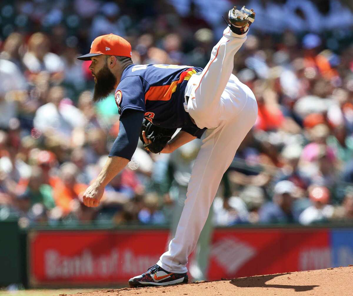 Astros starter Dallas Keuchel is a picture of concentration after delivering one of his 99 pitches against the A's at Minute Maid Park.