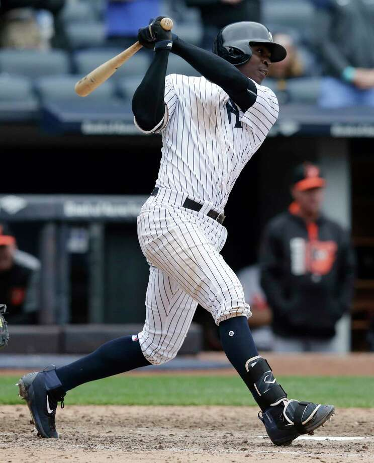 New York Yankees' Didi Gregorius hits a two-run single to tie the game during the ninth inning of the baseball game against the Baltimore Orioles at Yankee Stadium, Sunday, April 30, 2017, in New York. (AP Photo/Seth Wenig) ORG XMIT: NYY112 Photo: Seth Wenig / Copyright 2017 The Associated Press. All rights reserved.