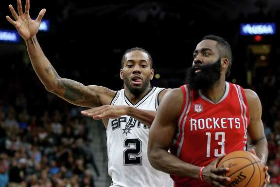 The Spurs' Kawhi Leonard, left, likely will defend the Rockets' James Harden, right, at some point during the best-of-seven Western Conference semifinals.