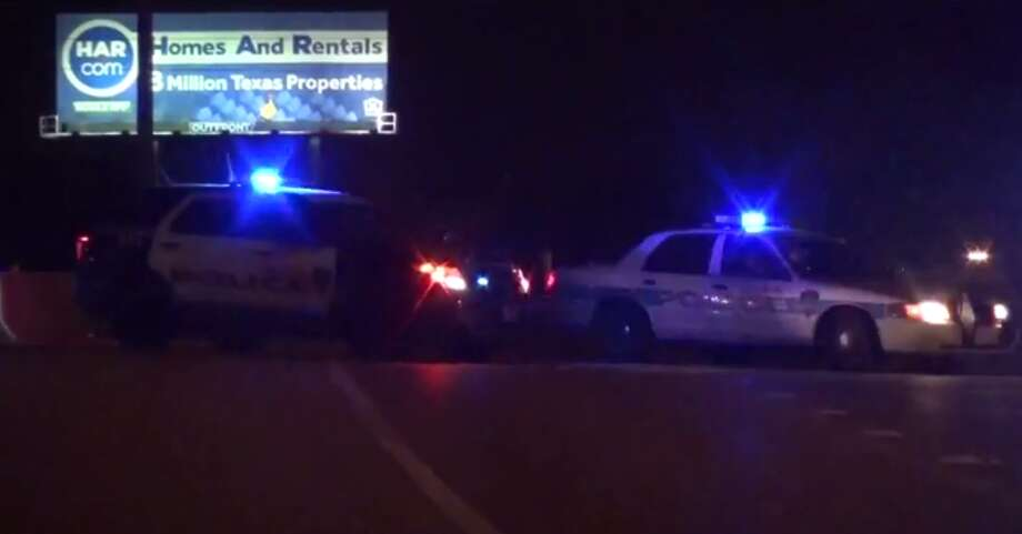A woman is dead Monday after she suffered a medical emergency while driving on the North Freeway and hit the car of an undercover police officer. (Metro Video) Photo: Metro Video