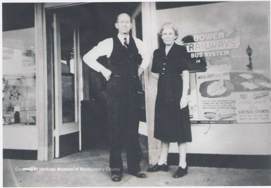 Pictured are Robin C. Carter and Hattie Stinson Carter, owners of the Carter Drug Store at Main and Davis streets in downtown Conroe. The purchased a home nearby at 402 West Phillips to serve as their residence.
