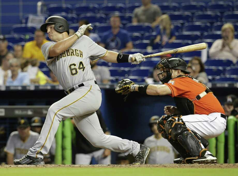 Pittsburgh Pirates' John Bormann strikes out swinging in his major-league debut during the ninth inning against the Marlins on April 30, 2017, in Miami. Photo: Lynne Sladky /Associated Press / Copyright 2017 The Associated Press. All rights reserved.
