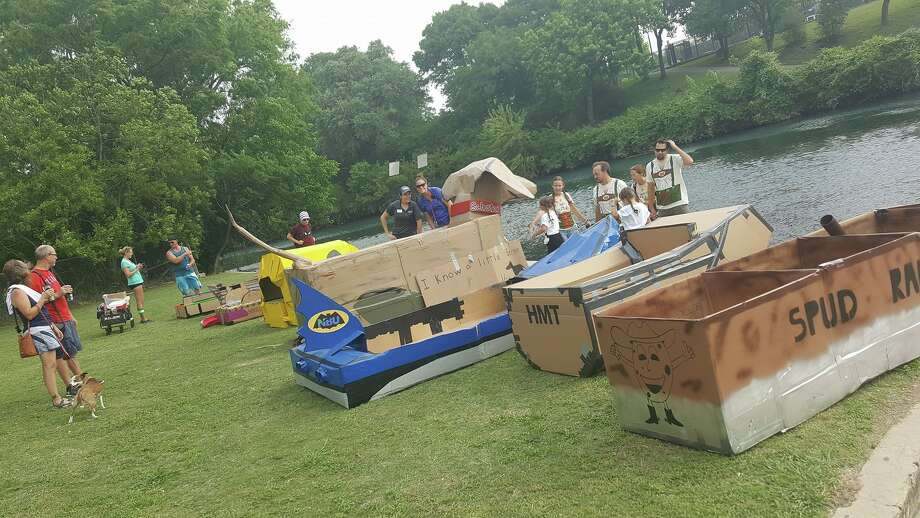 "Competitors race in the 7th annual ""Thru the Chute Boat Race"" on the Comal River in New Braunfels April 29, 2017. Photo: News Braunfels Park And Recreation"