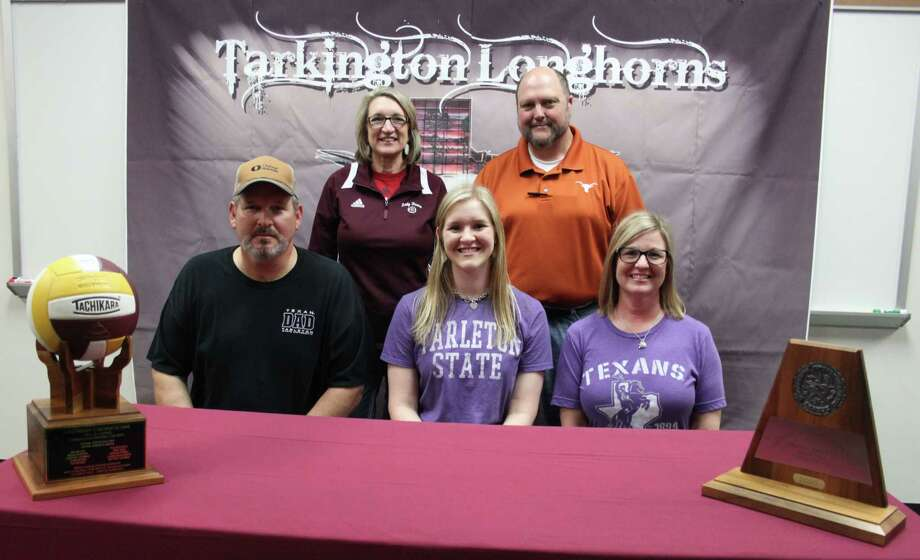 Tarkington LadyHorn Claire Chapman (front middle) is planning to attend Tarleton State University to play for the Texan Riders volleyball team. She plays the outside position on the LadyHorn varsity volleyball team and has earned many achievements including MVP of the district, Offensive MVP, three years of Academic All-District and more. Back row: Volleyball Coach Denise Johnson, Coach Tom Bruce. Front row: Donnie Chapman, Claire Chapman and Cindy Chapman. Photo: Jacob McAdams