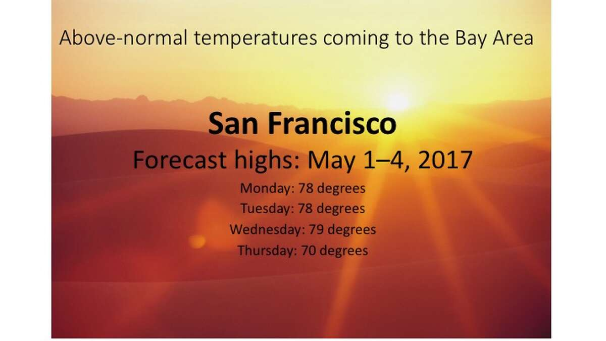 The National Weather Service forecasts above-normal temperatures for Northern California through Wednesday, with things cooling off Thursday.