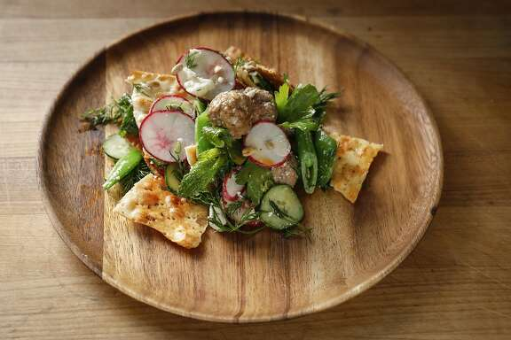 Jessica Battilana's Lamb Meatball Salad is seen on Friday, April 28, 2017 in San Francisco, Calif.
