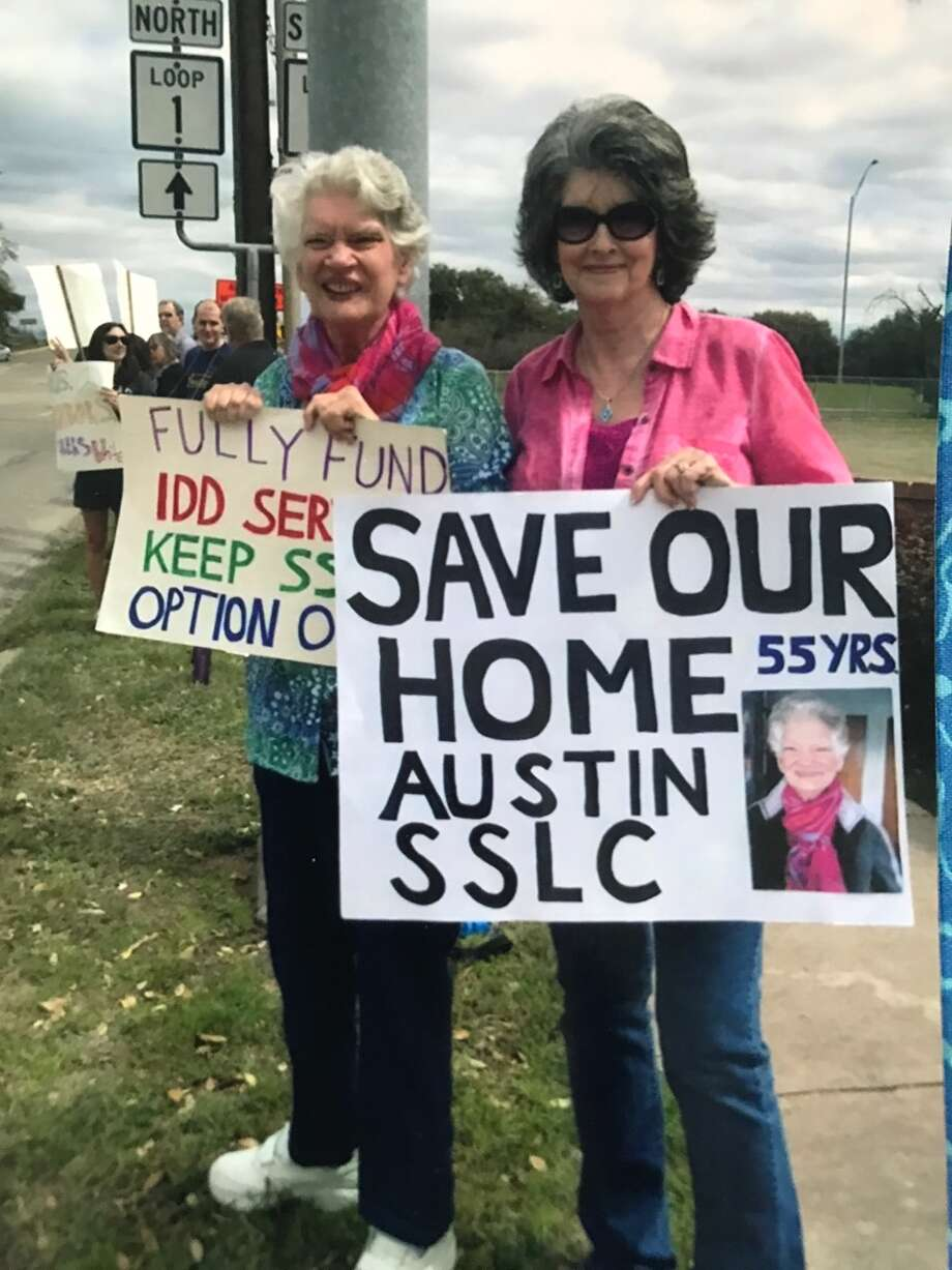 The SSLC  has been in Austin for 100 years. It is woven into the  fabric of the surrounding neighborhoods. In this photo: Austin SSLC resident Gayla Paulette Regian with her older sister, Linda Johnson, protesting in Austin. Photo: Liz Belile