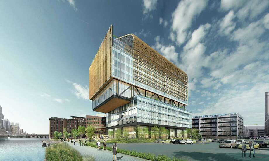 A rendering of the planned new General Electric headquarters in Boston. The company is leaving its Fairfield home of 42 years this summer. Photo: Contributed Photo / Connecticut Post contributed