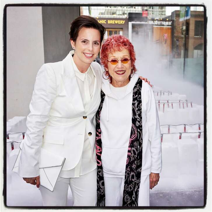 Gallerist Jessica Silverman (left) and artist Judy Chicago at the SFMOMA #Birthday Bash. April 26, 2017.