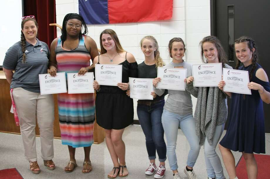 Coldspring-Oakhurst High School Lady Trojan Powerlifters received special recognition during Spotlight on Excellence at the COCISD Board of Trustees meeting on Monday, April 24. Pictured left to right are Coach Meredith Null, Tikyana Harrison, Raenah Cross, Laurel Currie, McLain Seagraves, Kennedy Seagraves and Andie Seagreaves. Not pictured: Tiann Perry and Feather Wilson. Photo: Submitted