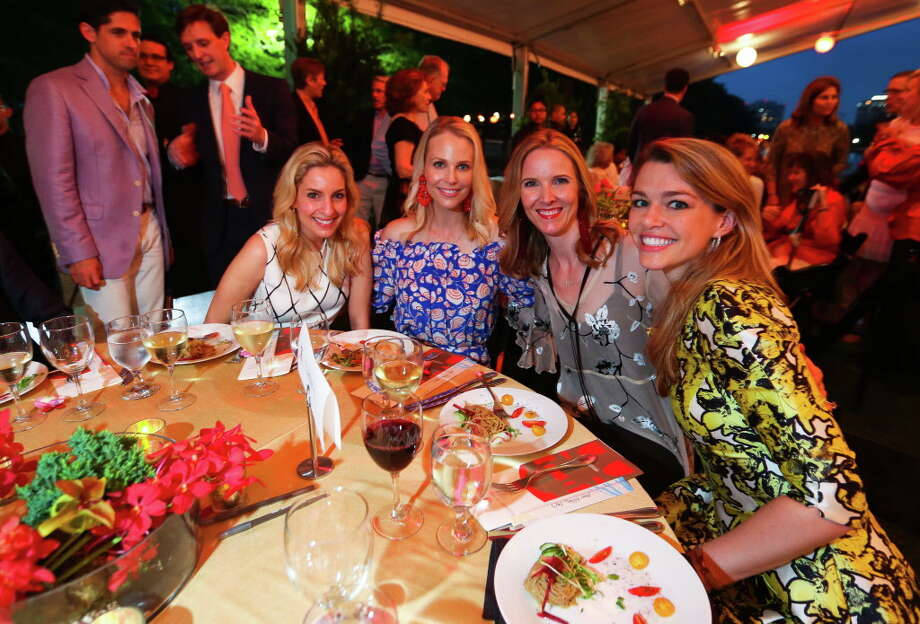 """Luvi Wheelock, Kathleen Jennings, Kristen McDaniel and Brittany Sakowitz at the """"Evening in the Park"""" event celebrating the 25th anniversary of the Japanese Garden on Friday, April 28, 2017. (Annie Mulligan / Freelance) Photo: Annie Mulligan, Annie Mulligan / For The Houston Chronicle / @ 2017 Annie Mulligan"""