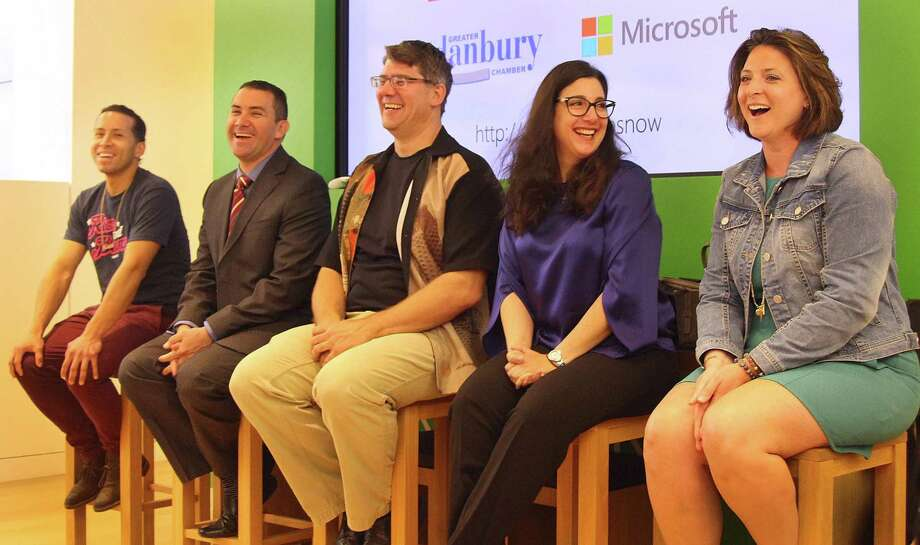 Panelist Jasson Arias, Humberto Gutierrez, Michael Sauvageau, Rafel Sgammato and Bobbi Jo Beers share a laugh during an Entrepreneur Expo held Monday morning at the Microsoft Store in Danbury Fair. Photo: Chris Bosak / Hearst Connecticut Media / The News-Times