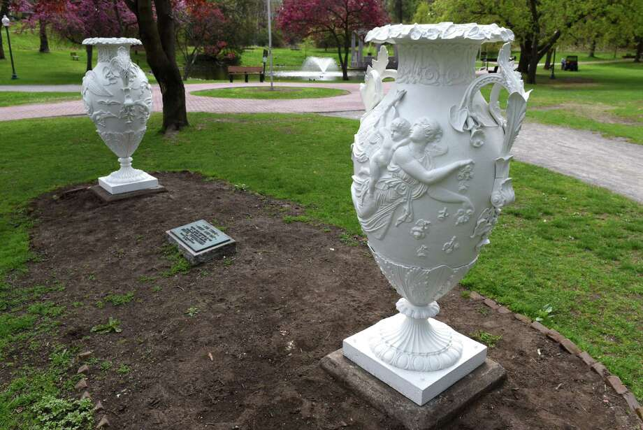 "A pair of urns titled ""Day and Night,"" are returned to Congress Park following repairs for vandalism on Monday, May 1, 2017, in Saratoga Springs, N.Y. (Will Waldron/Times Union) Photo: Will Waldron, Albany Times Union / 40040393A"
